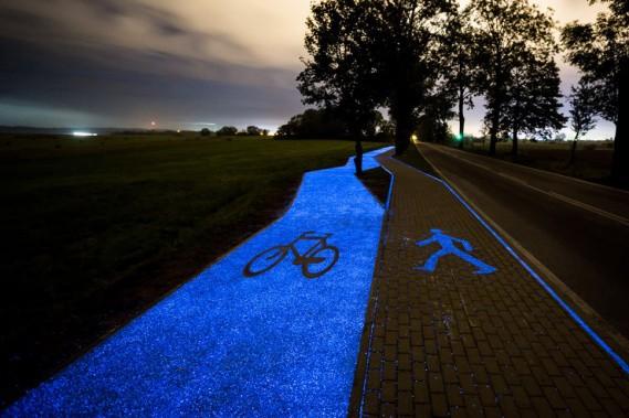 светящиеся велодорожки в Польше