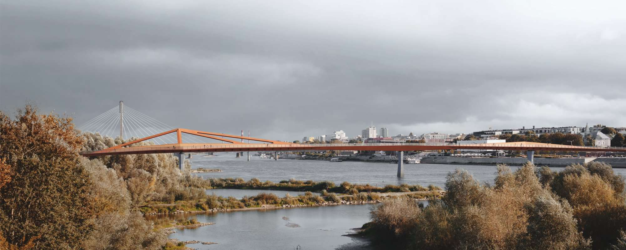 Пешеходный мост через Вислу в Варшаве
